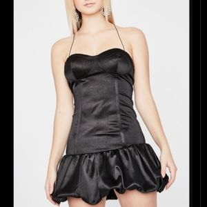 Cute Satin Ruffled Mini Dress